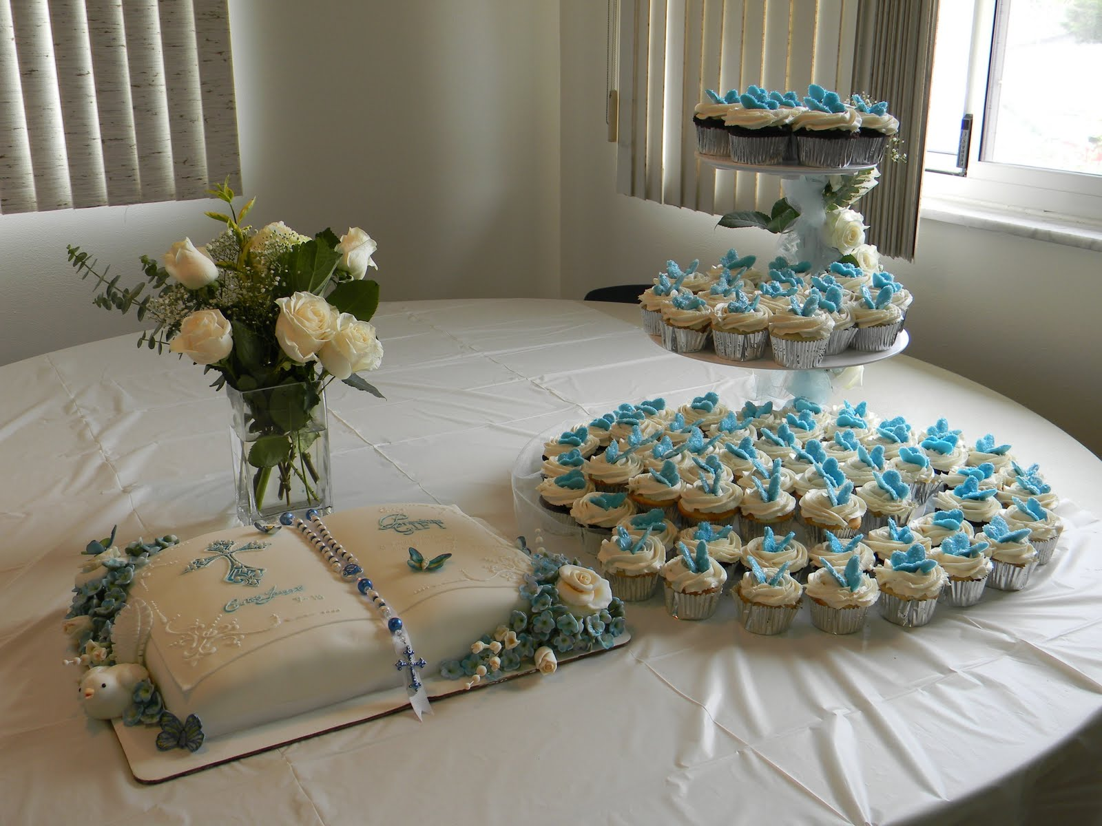 Couture cakes by angela baptism reception cake table for Baby dedication decoration
