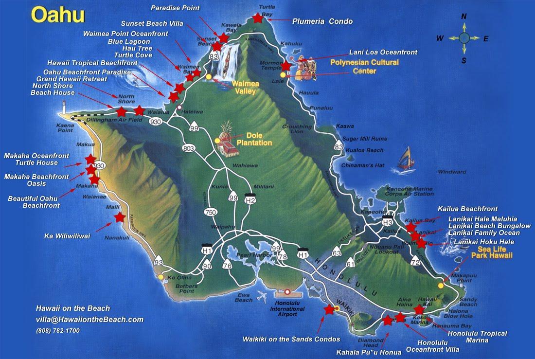 Oahu South Shore Beach Map