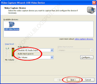 In Available devices, click the analog device you want to use to capture video, and then, in the Video input source list, click the input line you want to use, then click Next.