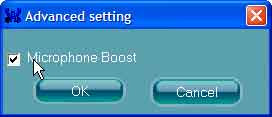 Advanced Setting window - Microphone Boost