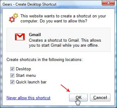 Create Shurtcut to Offline Gmail