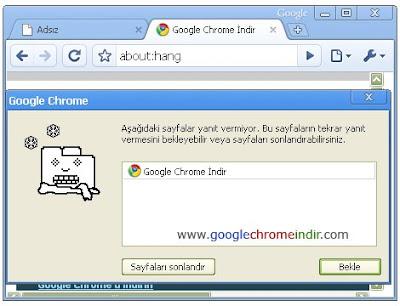 Google Chrome Yanıt Vermeyen Sayfalar