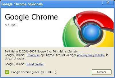 Google Chrome 3 Güncelleme