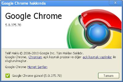 Google chrome güncelleme işlemleri