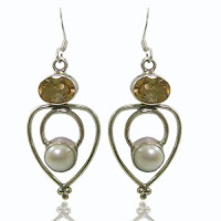 Sterling Silver Citrine Pearl Earrings