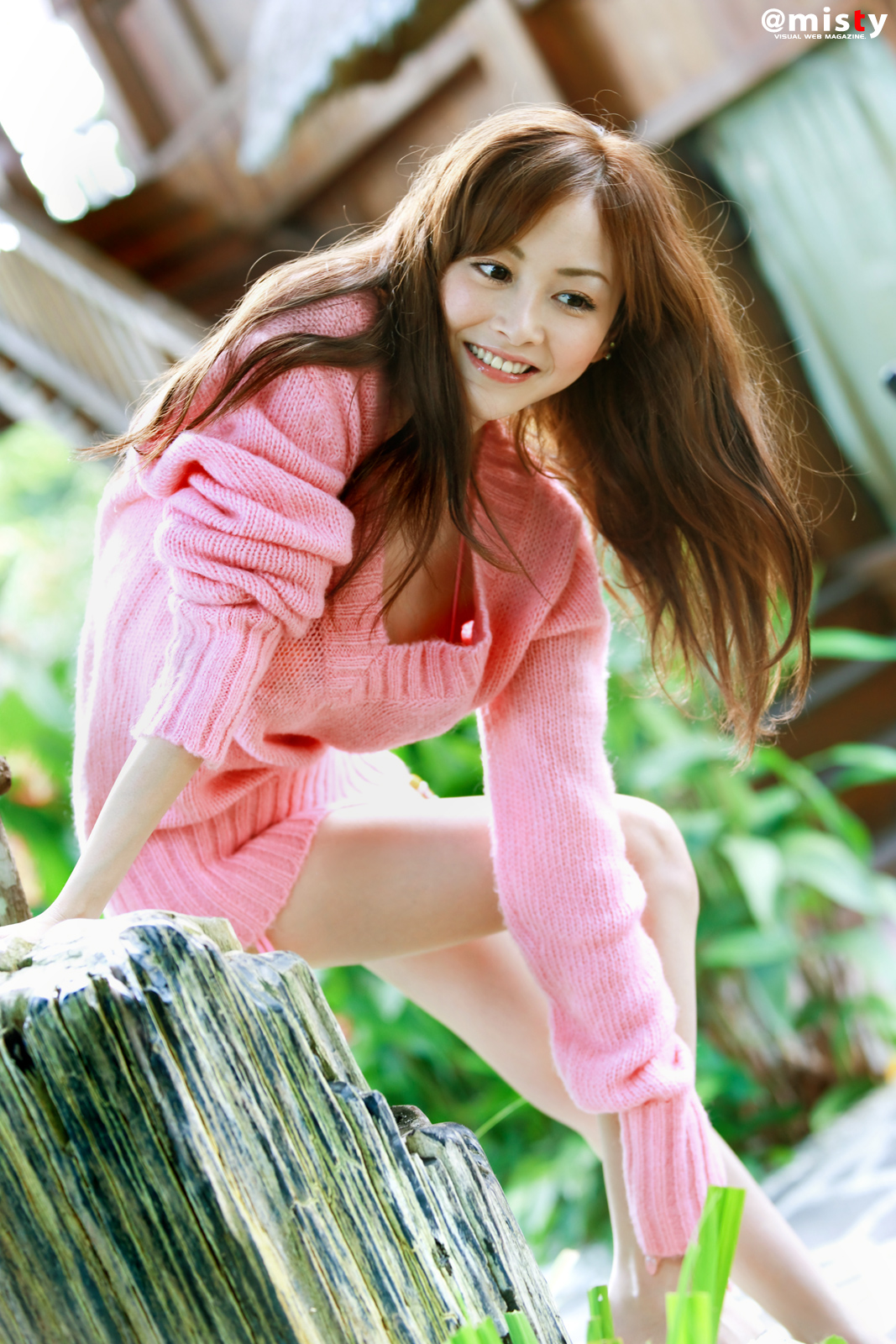 Anri Sugihara In Pink Yarn Sweater Ilektrosok