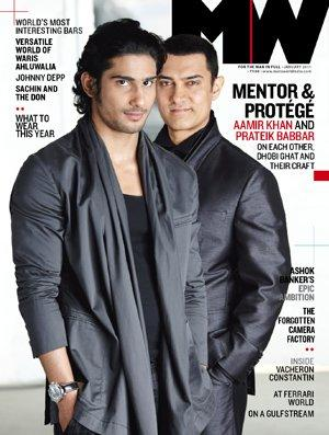 - Prateik Babbar And Aamir Khan On Man's World Magazine Cover Feb 2011