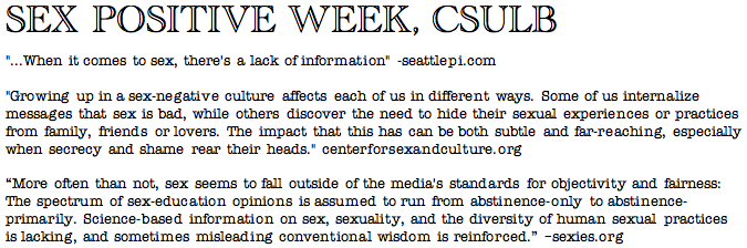 Sex Positive Week, CSULB