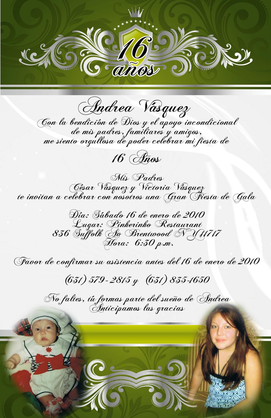 Artes DaVinci: Invitación 15 y 16 Años en color Verde y Plateado ...