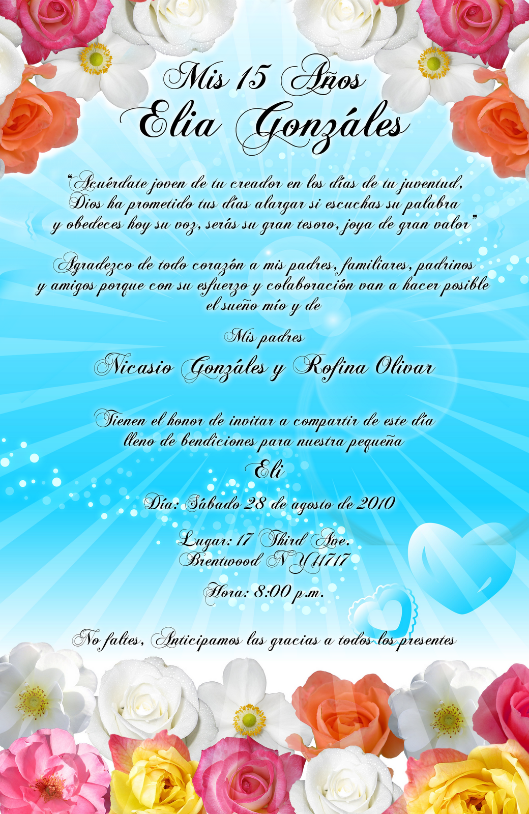 Invitación 15 y 16 Años en color turquesa y flores tropicales ...