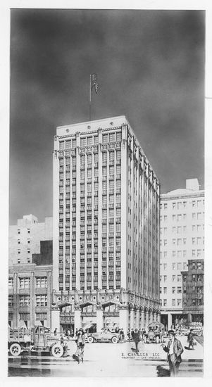 1920s art deco office tower sketch