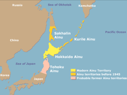 Ainu peoples distribution map