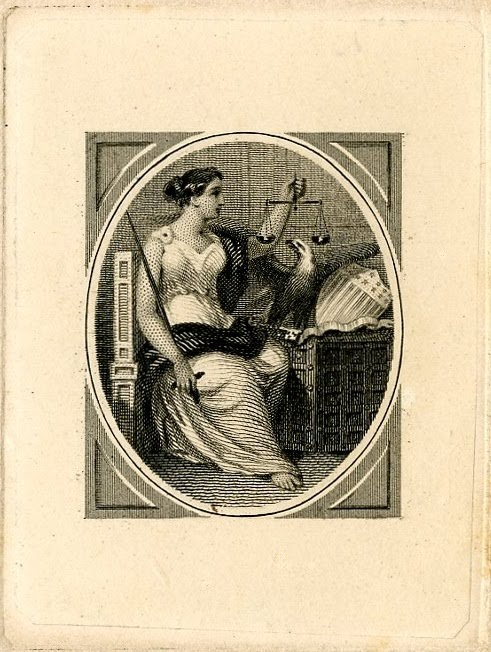 Allegorical female figure holding scales. Eagle next to her. Bank note design printed in black. (19th c)