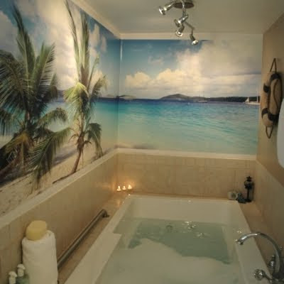 Going wild with coastal wallpaper in the bathroom for Bathroom wall mural