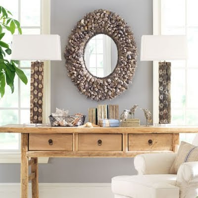 Wisteria oyster shell mirror