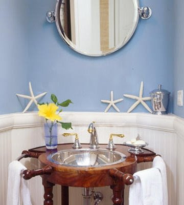 nautical bathroom with ship wheel sink