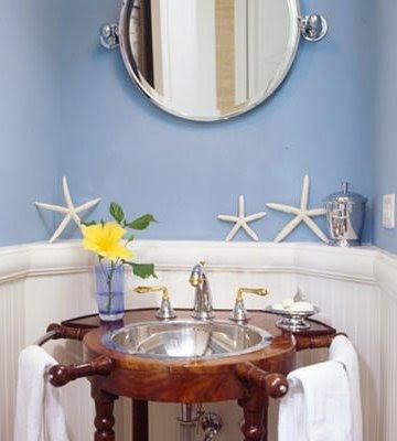 nautical bathroom with ship wheel sink