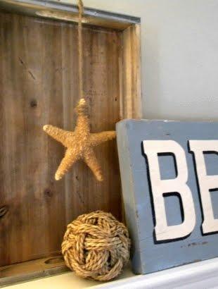 Starfish as mantel decor