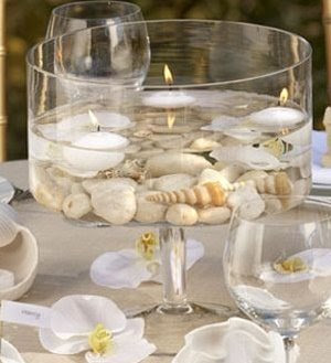 floating candles with shells
