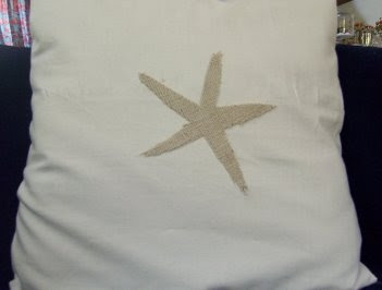 pillow with burlap starfish