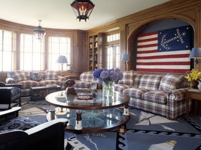 nautical red white and blue living room