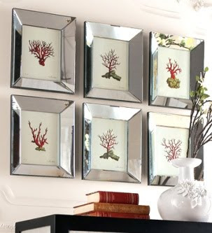 to hang art like this set of 6 coral prints in wood mirror frames