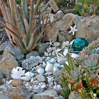 outdoor garden decor with seashells