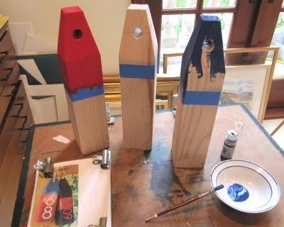 handmade wood buoys