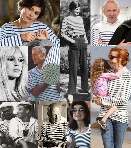 French Breton Striped Sailor Shirts worn by Coco Chanel and other celebrities