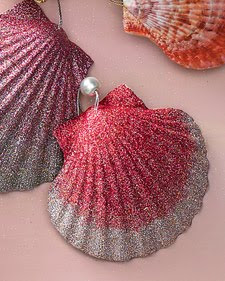 Shell Ornaments with glitter
