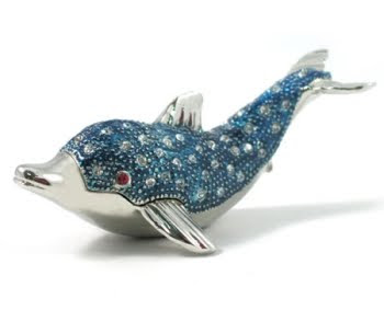 dolphin trinket box with crystals