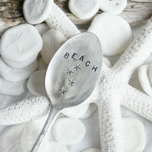 spoon garden markers stamped with beach