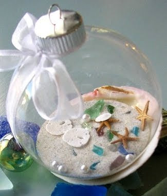 beach glass ornaments filled with sand and shells