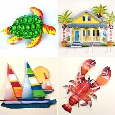 beach decor metal sculptures
