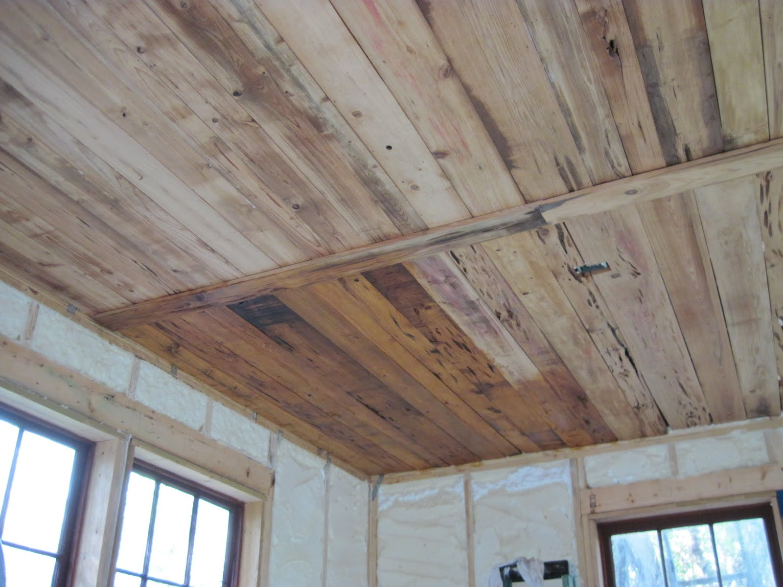 Plywood Plank Ceiling Shellac And Pecky Cypress Ceiling Historic Shed