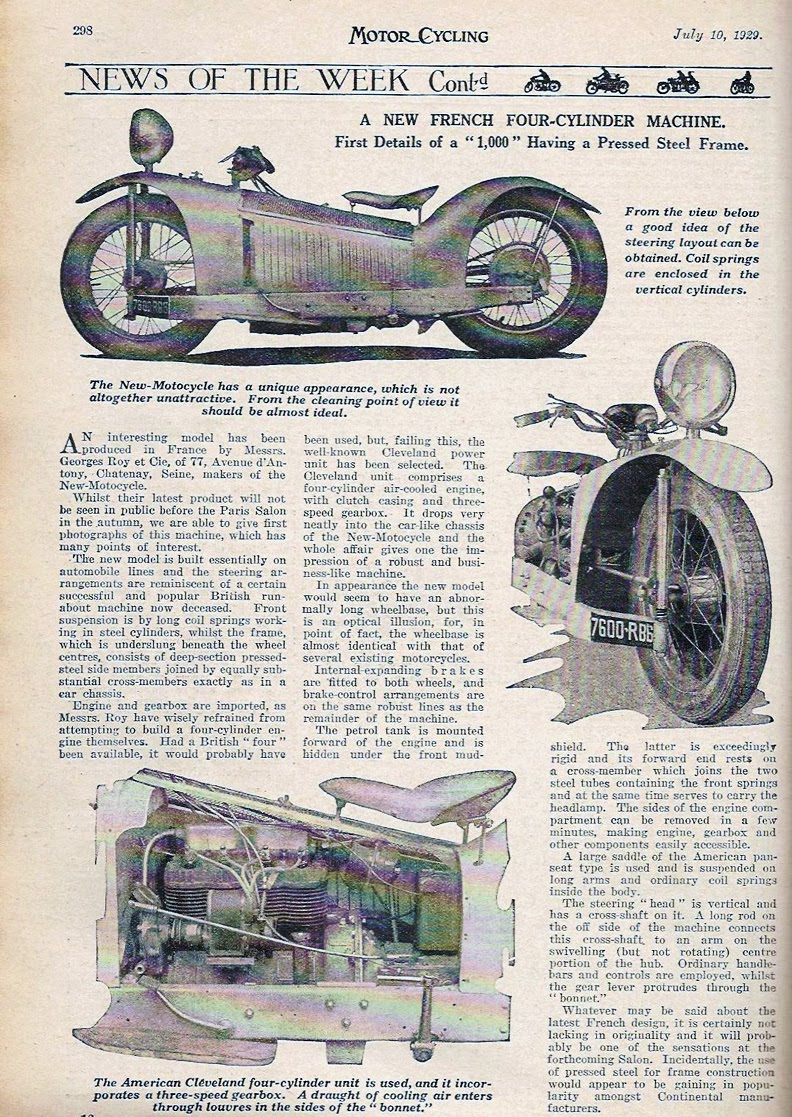 majestic article in motorcycling magazine, july 1929