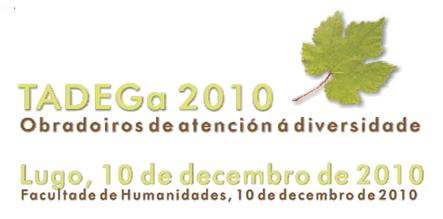 Anagrama dos Obradoiros 2010 en Lugo. Unha folla de parra acompaña ao título dos obradoiros e á data en verde e castaño.
