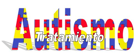 La palabra Tratamiento flota sobre la palabra Autismo que tiene la textura del clásico puzzle de colores