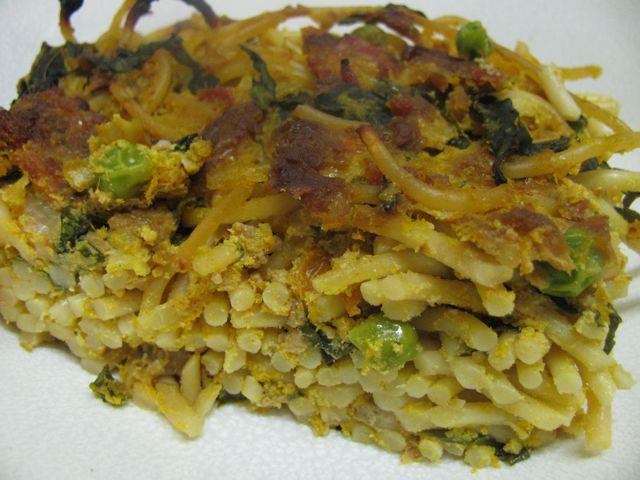 Green Gourmet Giraffe: Pumpkin, Ricotta and Facon Spaghetti Bake