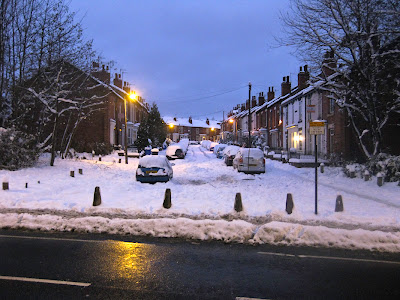 sheffield street in snow