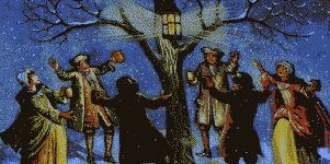 Wassailing the apple tree color illustration