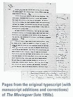 original typescript pages with author revisions of The Moviegoer by Walker Percy black and white photograph