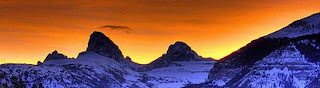 Sunrise over the Teton Mountains, Wyoming color photograph