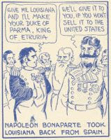 single panel 'Napoleon Bonaparte took Louisiana back from Spain from 'Texas History Movies'