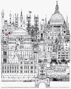 black and white stylized drawing of London