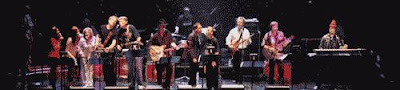 The Rock Bottom Remainders in performance color photograph