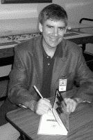 Rick Riordan black and white photograph
