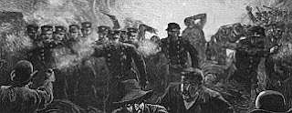 a section of a black and white print of the Haymarket Riot from the May 15th, 1886 Harpers Magazine