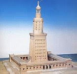 A color photo of an artist's reconstruction of the Lighthouse of Alexandria.