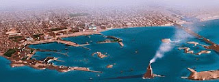 A color bird's eye artist's reconstruction of Ancient Alexandria.